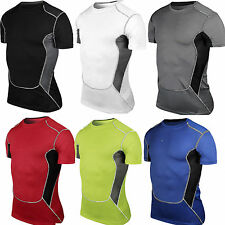 Mens Body Armour Compression Base Under Layer Cycling Sport Short Sleeve T-shirt