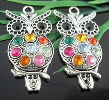 2Pcs Tibetan Silver Owl Charms Pendants 48x24mm   (Lead-free)