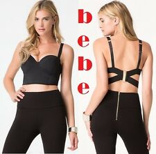 BEBE New Zoie  Bustier Black Sexy Strappy Top Gold Hardware Closure Size: XS, S