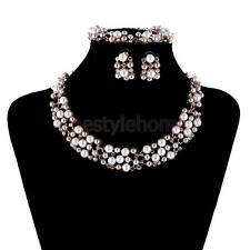 MagiDeal Gold Plated Faux Pearl Crystal Collar Necklace Earrings Bracelet Set