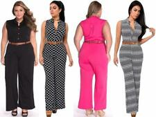 Women Sexy Plus Size Playsuit Long Jumpsuits Sleeveless Belted Wide Leg Jumpsuit