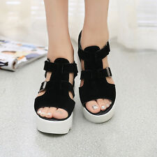 Women Buckle Breathable Shoes Wedges High Top Peep Toe Platform Sandals Slipper