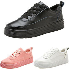 Womens Sport Athletic Platform Lace Up Flats Creepers PU Leather Shoes Sneakers