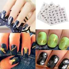 Peacock Feather Zip Nail Stickers Manicure Decals Stamping French Nail Art DIY~