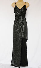 LIPSY High Low Glitter sparkle black strappy  Maxi Party occasion Dress size 12