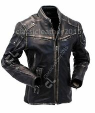 Mens Vintage Biker Style Motorcycle Cafe Racer Distressed Leather Jacket