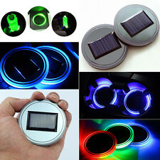 Green 2pcs Car Solar Energy Cup Holder Bottom Pad LED Light Cover Fashion New