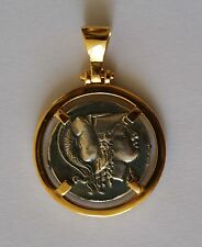 GODDESS ATHENA GREEK COIN Pendant 925 sterling silver gold plated  code 9