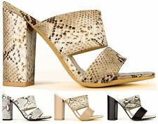 Koi Couture Women's Faux Snake Skin Block Heel Peep Toe Mules Shoes Sandals