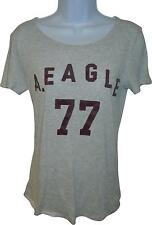 USED Ladies American Eagle Outfitters Grey Decal Top Size Small (L.H)