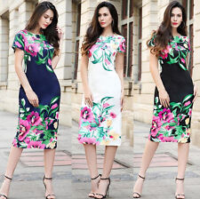 Womens Cheongsam Short Sleeve Cotton Floral Printed Tunic Shift Fit Dresses New