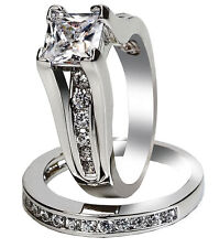2.10 CTW Sterling Silver Wedding Ring Sets Cubic Zirconia Rings Free Shipping