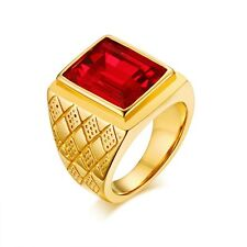 18K Gold Plated Stainless Steel Men's Jewelry Red Rhinestone Ring Size 8/9/10/11