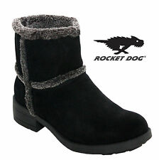 WOMENS LADIES ROCKETDOG SUEDE LEATHER FUR LINING BLACK WINTER ANKLE BOOTS SHOOES