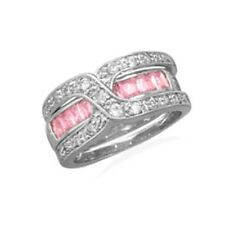 Pink and Clear Cubic Zirconia Band Ring with Guard Rhodium on Sterling Silver