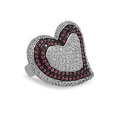 Heart Ring with 260 CZs Red and Clear Rhodium Plated Sterling Silver