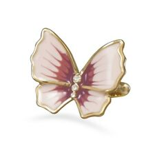 Pink Butterfly Ring Gold-plated Brass with Cubic Zirconia Accents