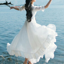 Women White Butterfly Collar Long Dresses Lotus Leaf One-piece Skirt Dress