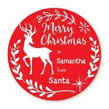 Deer Antlers Personalized Christmas Round Sticker Labels - 7 size avaiable