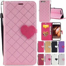 3D Loving Heart Flip Leather Wallet Stand Cover Case Skin For Huawei Cell Models