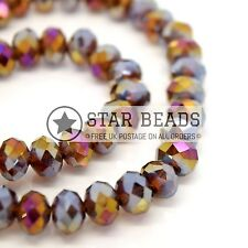 FACETED RONDELLE CRYSTAL GLASS BEADS AMBER AB 4MM,6MM,8MM,10MM