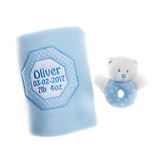 Personalised Baby Boy Gift Set Fleece Blanket Soft Toy Rattle Embroidered