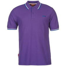 Slazenger Mens Tipped Polo Shirt Purple New With Tags