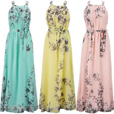 Womens Maxi Boho Floral Chiffon Summer Long Evening Halter Beachwear Maxi Dress