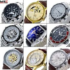 Men's Date Mechanical Skeleton Wrist Watch Analog Stainless Steel Sport Leather
