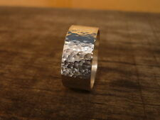 10 mm Hammered Band Flat Plain Ring  925 Sterling Silver Men Size 5 - 14 US.