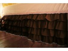 1 Qty Multi Ruffle Bed Skirt Egyptian Cotton Chocolate Solid 1000 TC Drop 8-30''