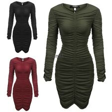 Women's V-Neck Long Sleeve Stretchy Ruched Bodycon Party Dress LM01
