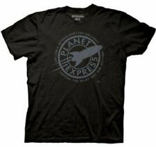 Adult Black Comedy TV Show Futurama Faded Planet Express Logo T-shirt Tee