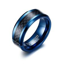 8MM Carbon Fiber Band Men's Blue Tungsten Carbide Wedding Ring Sz 7/8/9/10/11/12