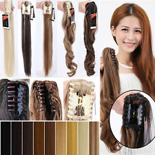 Real Long Thick as Human Claw Clip in Jaw on Ponytail Hair Extension Pony Tail T