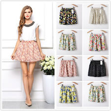 Fashion Women Summer Chiffon Floral Short Mini Dress Skirt Pleated Waist dresses