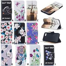 For iPhone 5 6s 7 plus Patterned PU Leather Case Card Slots Flip Wallet Case
