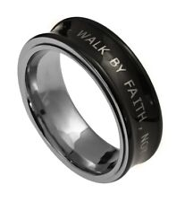 New Spirit And Truth Stainless Steel Christian Ring Spinner Verse Ring Black