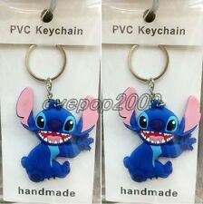 Lot Cartoon Stitch Double sided Rubber Key rings Key Chain Party Favors A446