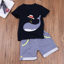 2pcs Toddler Infant Newborn Baby Boy T-shirt +Pants Outfit Set Whale Clothes 2-7