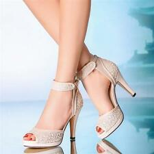 New Fashion Womens Shoes Pumps Open Toe Block Heels Strappy Date Party Sandals 8