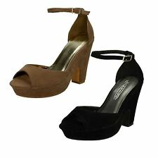 Ladies Spot On Platform Heeled Peep Toe Sandals