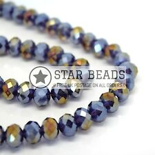 FACETED RONDELLE CRYSTAL GLASS BEADS VIOLET AB 4MM,6MM,8MM,10MM