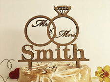 Personalized Wedding Cake Topper Mr and Mrs Custom Cake Topper Wedding Rings