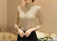 VTG Nude Taupe Lace Crochet Victorian HIGH Collar long sleeve blouse top S M L