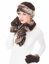 Ladies Womens Faux Fur Gloves, Hat & Scarf Set Black or Brown Christmas Gift New