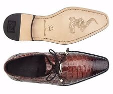 Belvedere Mens shoes Rome Genuine Crocodile Skin Lace Up Antique Almond 1633