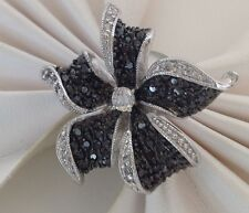 New! Exquisite Micro Pave Black & Clear Cubic Zirconia Ring 18KGE Rhodium Plated