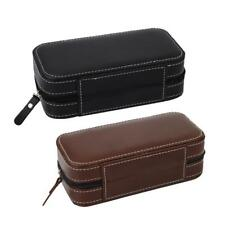 2 Slot Luxury Leather Portable Watch Travel Case Collector Storage Zipper Box