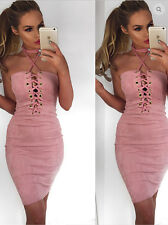 Evening Party Pencil Midi Dress Womens Ladies Bandage Bodycon Lace Up Cocktail